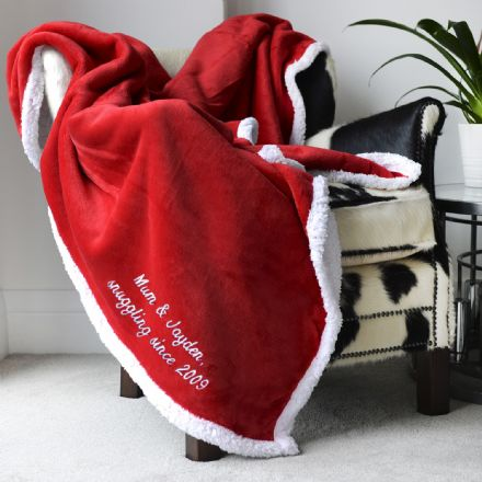Personalised Red And White Super Soft Blanket